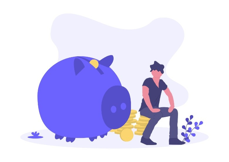 Money Pig with coins next to it
