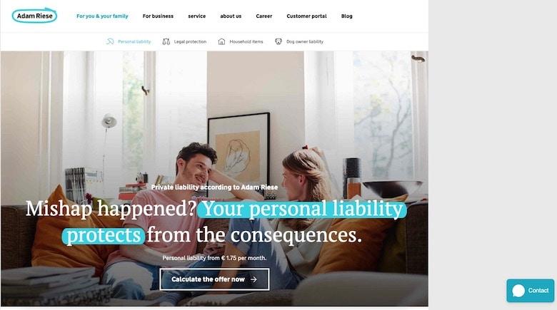 Adam Riese insurance homepage