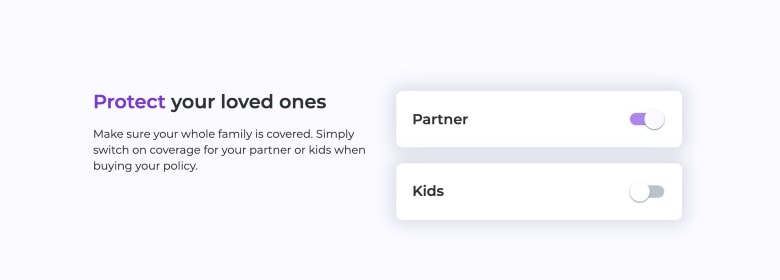 screenshot of coya add members to personal liability insurance