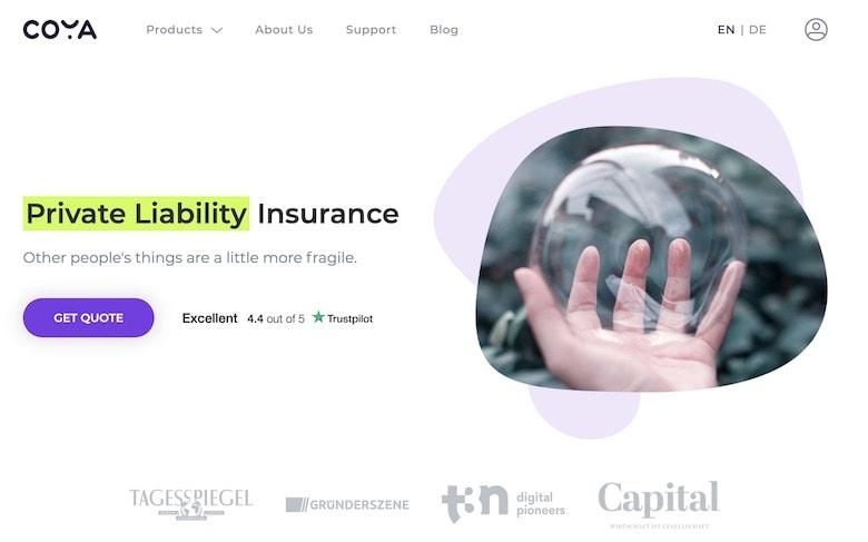 Screenshot of Coya liability homepage