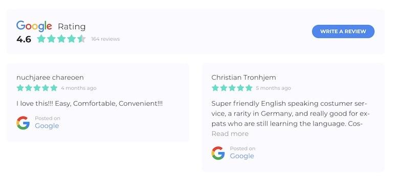 screenshot of coya reviews