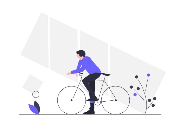 Illustration of a guy chilling on his bike