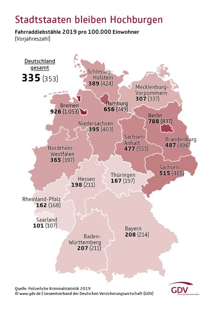 Statistic Maps of Germany showing bike theft numbers in 2019