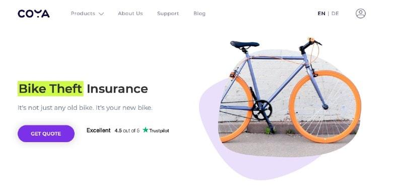 Coya Bike Insurance Homepage