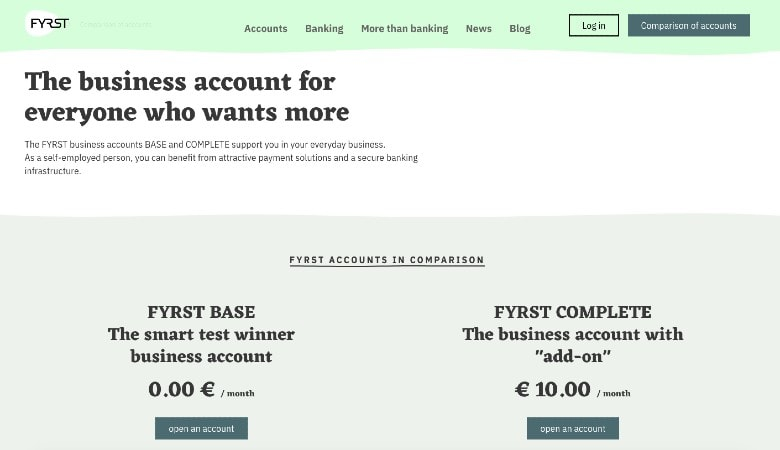 Fyrst homepage showing different business accounts