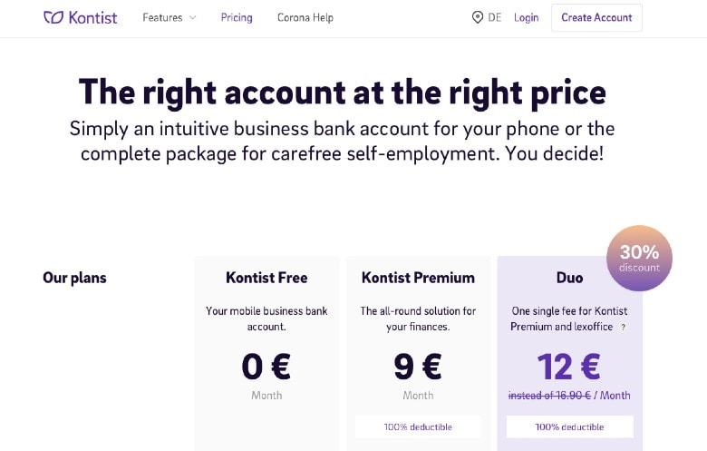 Kontist homepage showing different business accounts
