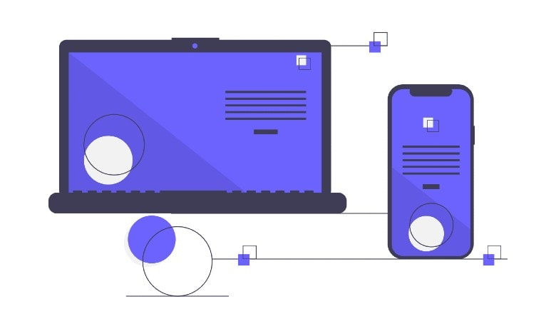 Drawing of a laptop and mobile phone