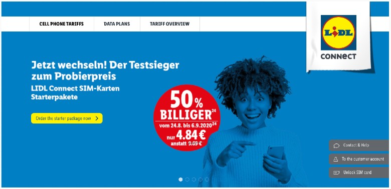 Lidl Connect hompage