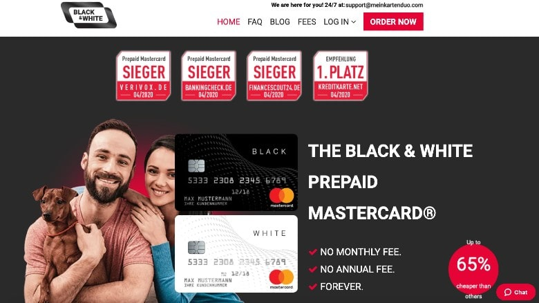 Black&White card homepage