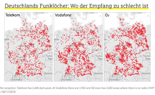 Maps showing the dark spots of Telekom, Vodafone and O2 in Germany