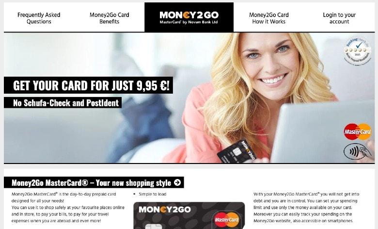 Money2Go Card Homepage
