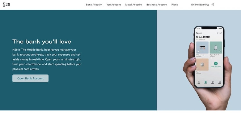 Screenshot of N26 homepage