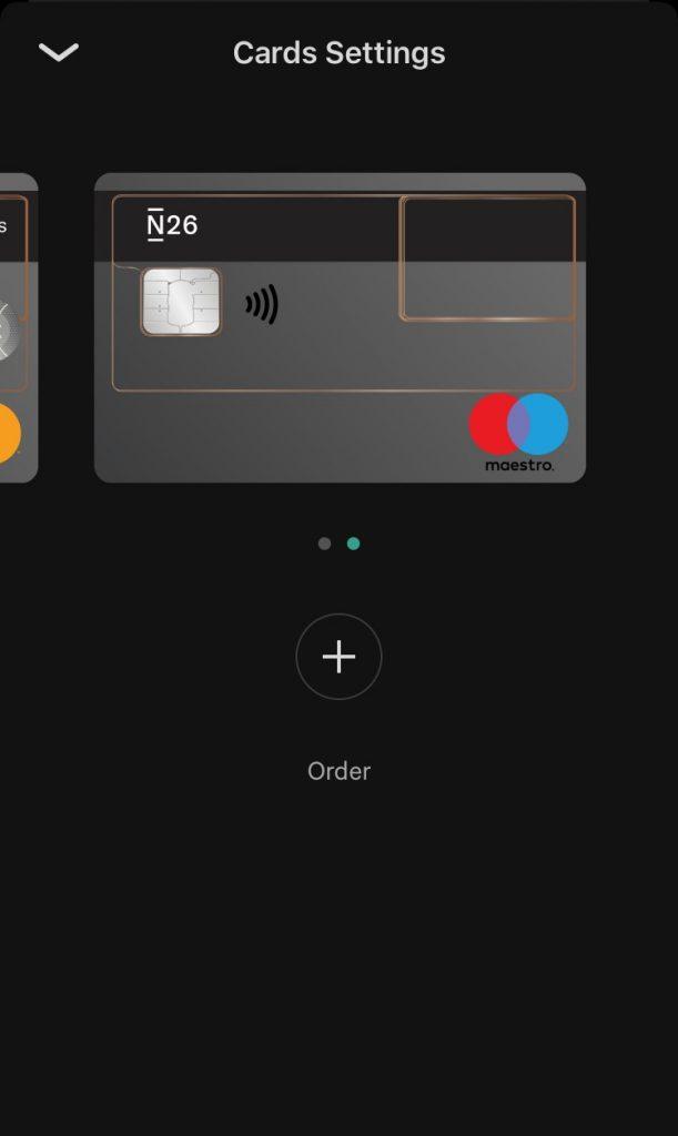 N26 order EC card easily through the app