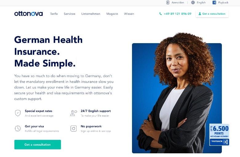 Ottonova Health Insurance homepage
