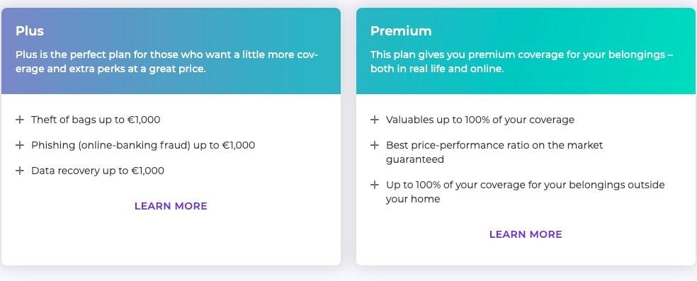 Screenshot of Coya's plus and premium plans