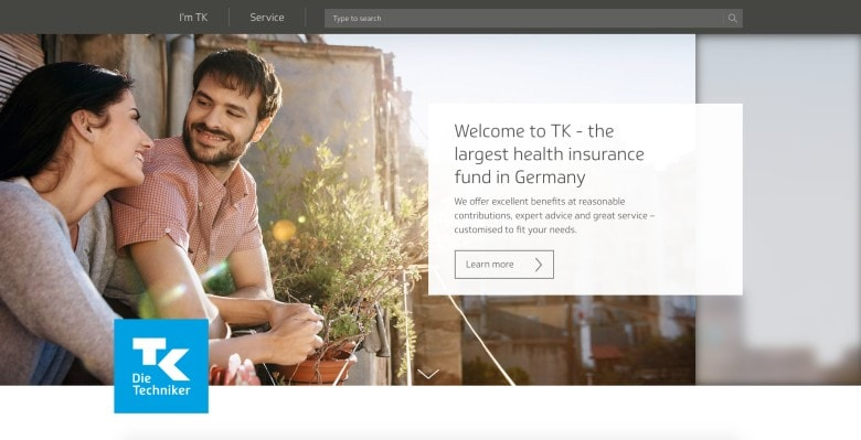 TK insurance Germany homepage