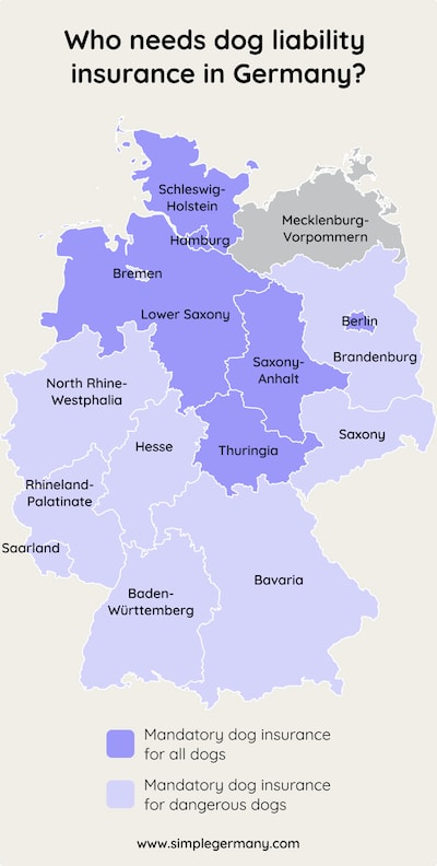 German map with areas where dog liability insurance is mandatory