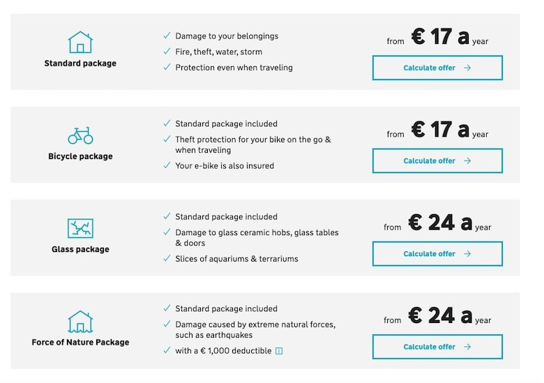 Screenshot of Adam Riese prices for home contents insurance
