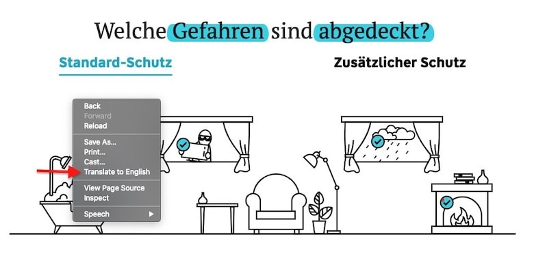 Screenshot of how to translate German page into English with Chrome