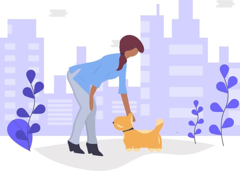 Illustration of woman petting dog