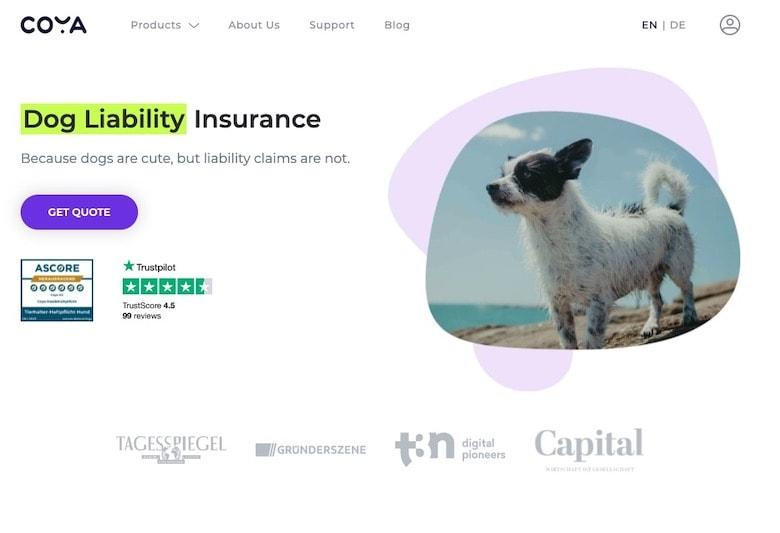 Coya Dog Liability Insurance Homepage