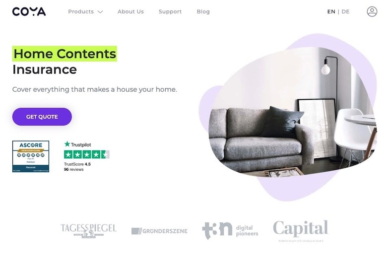 Coya Home Contents Insurance Homepage
