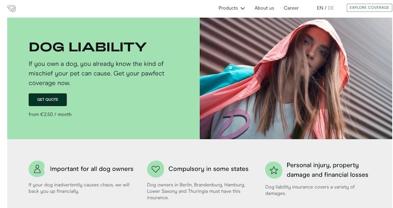 Screenshot of Getsafe's dog liability website