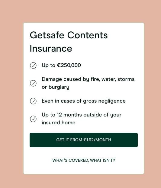 Screenshot of Getsafe's home contents benefits
