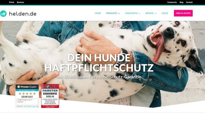 Screenshot of Helden's dog liability website