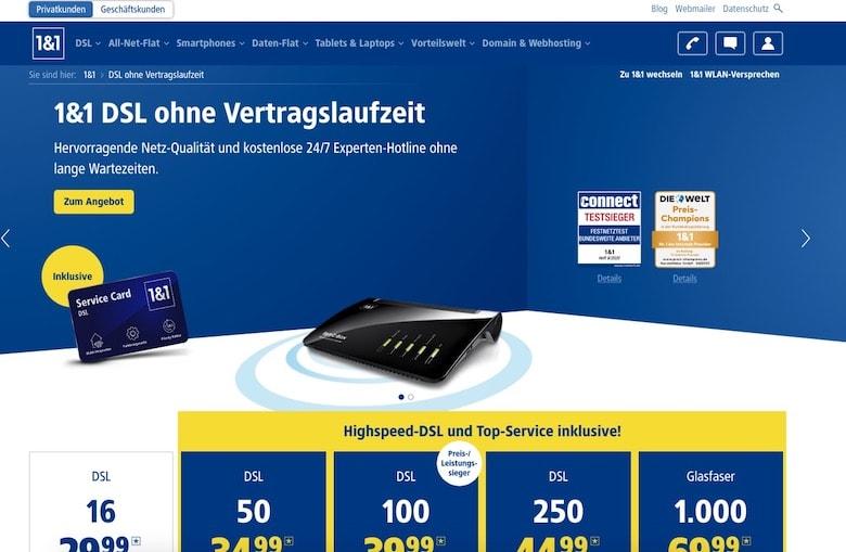 Screenshot of 1 und 1 website