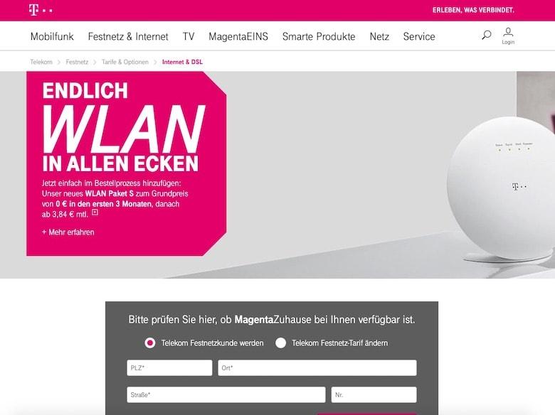 Screenshot Telekom website
