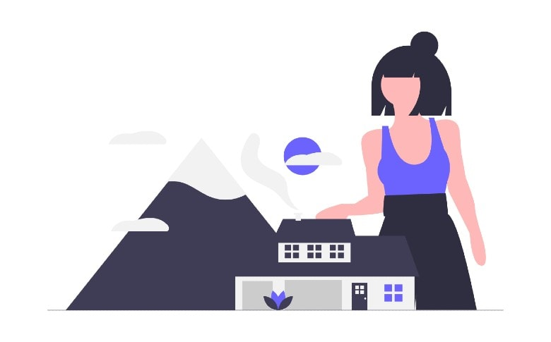illustartion of home with woman protecting it