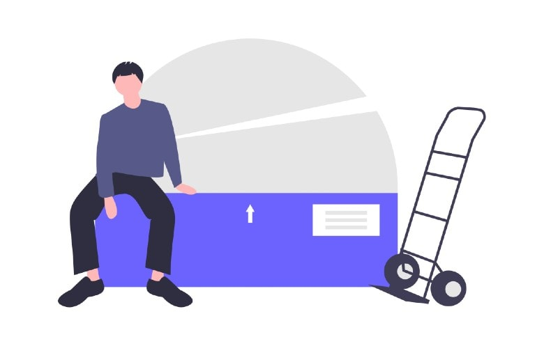 Illustration of man on top of moving boxes
