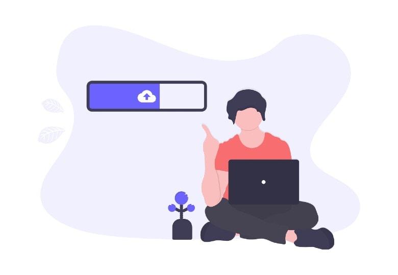 illustration of uploading a file