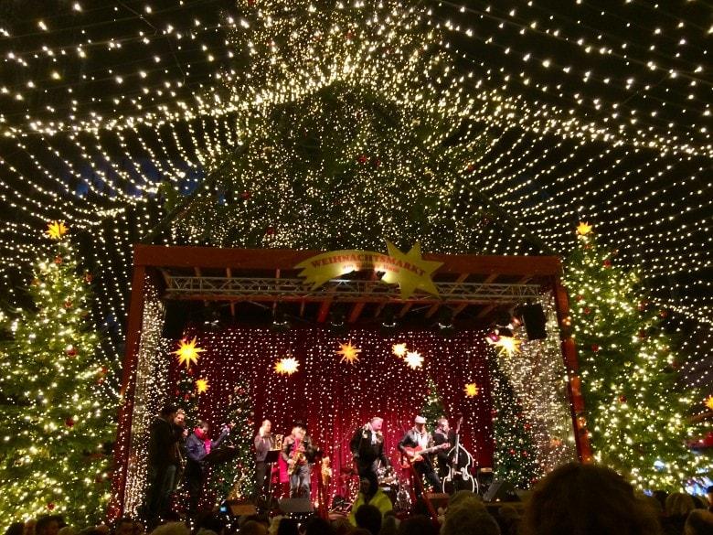 A band playing Christmas songs at a German Christmas Market
