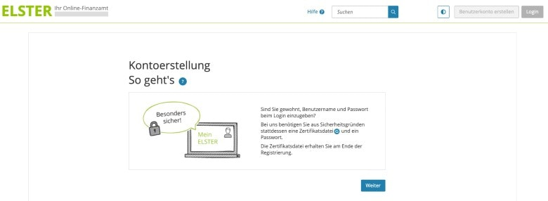 ELSTER homepage for your tax declaration in Germany