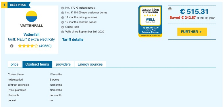 example calculation for electricity provider comparison