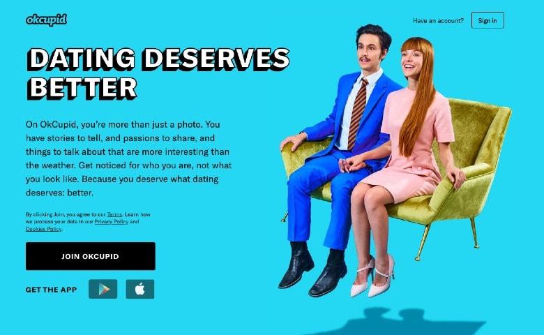 OkCupid dating app homepage
