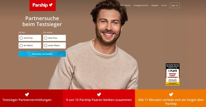 Parship dating site homepage