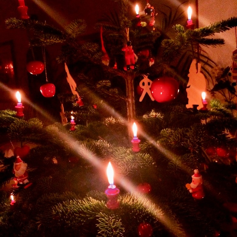 A real German Christmas tree with real candles