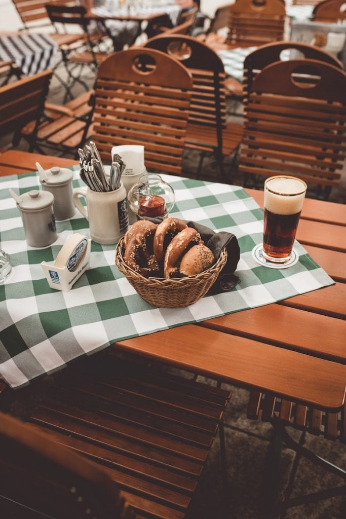 German bread and beer on a table