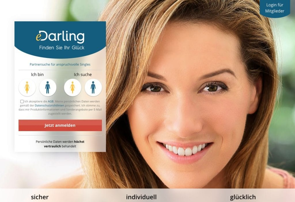 eDarling dating site homepage