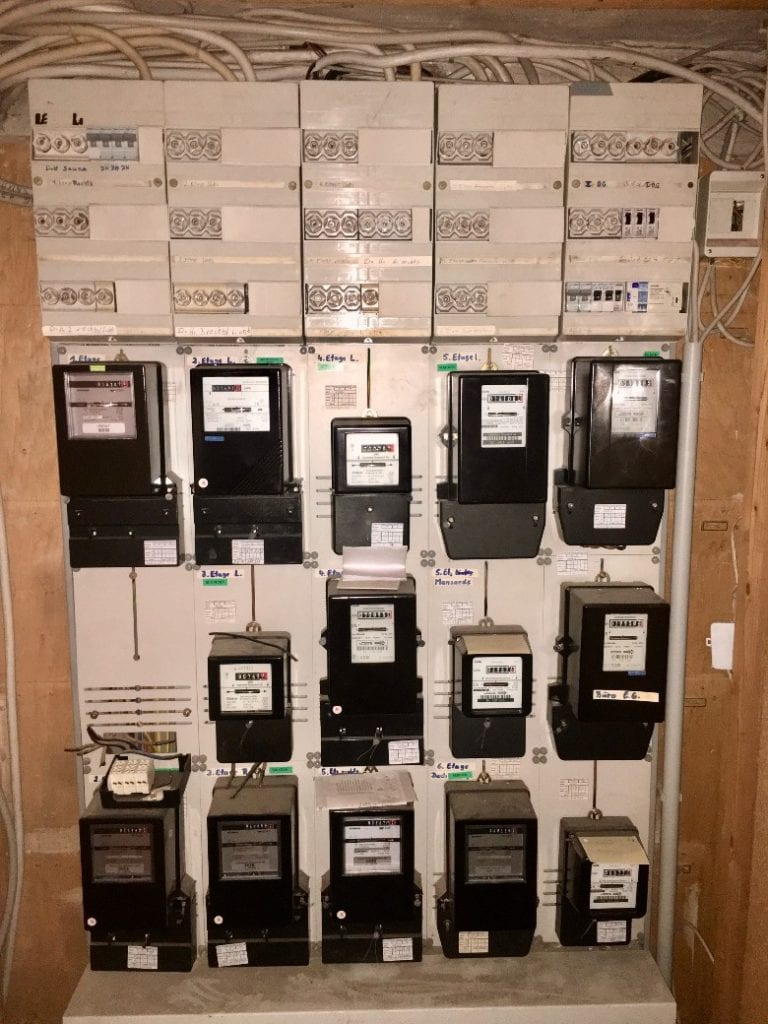 Electricity meters in German apartment house