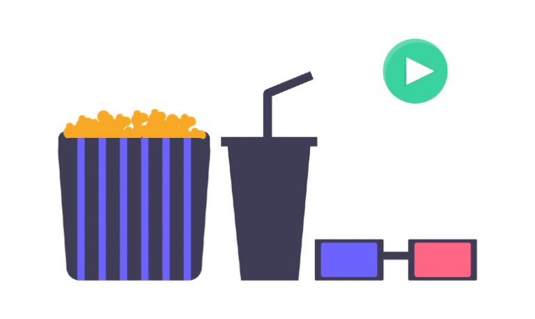Illustration of popcorn, soda, and 3D glasses