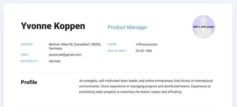 Screenshot of personal information in CV