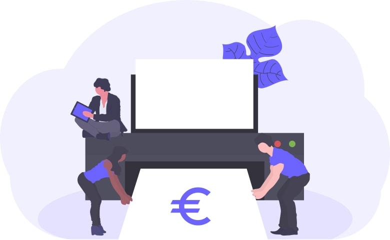 Illustration of printing money