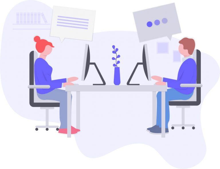 illustration of people working
