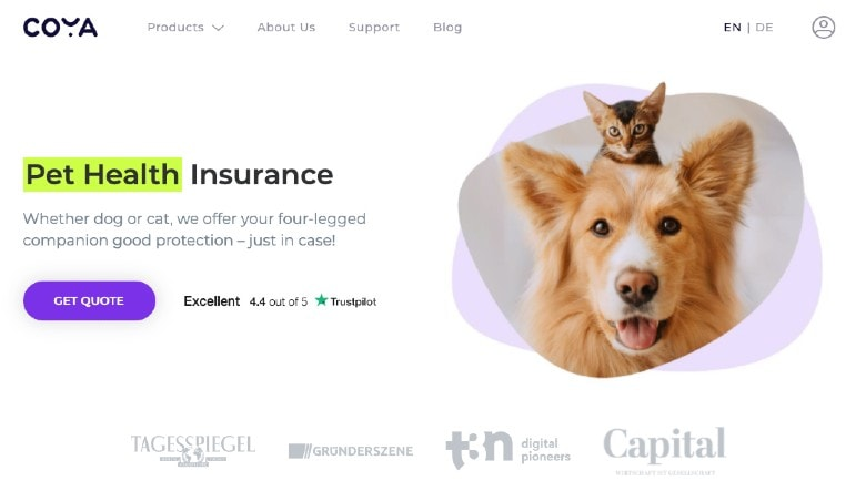 Coya Pet Health Insurance Homepage