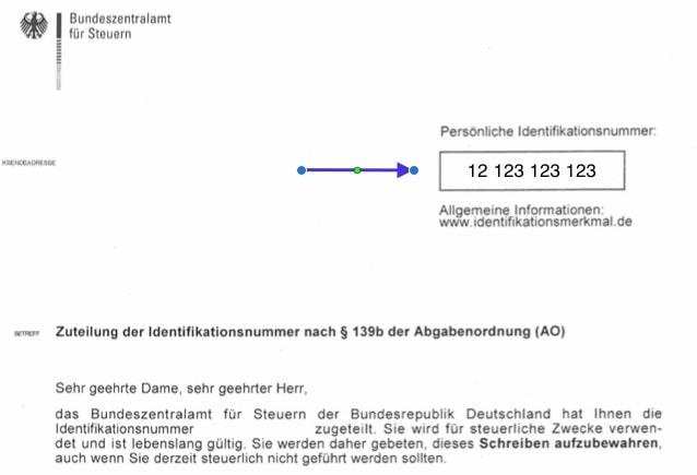 German tax ID on official document from the Bundeszentralamt für Steuern