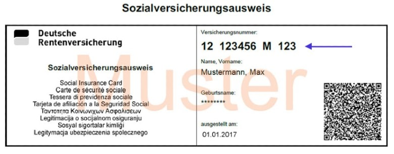 Example of the social security card in Germany